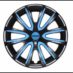 Mėlyni ratų gaubtų intarpai R14 (24 vnt. + 4 dangteliai)