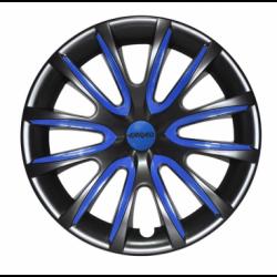Tamsiai mėlyni ratų gaubtų intarpai R15 (24 vnt. + 4 dangteliai)