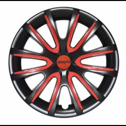 Raudoni ratų gaubtų intarpai R15 (24 vnt. + 4 dangteliai)