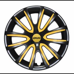 Geltoni ratų gaubtų intarpai R15 (24 vnt. + 4 dangteliai)