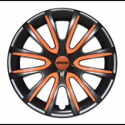 Oranžiniai ratų gaubtų intarpai R15 (24 vnt. + 4 dangteliai)
